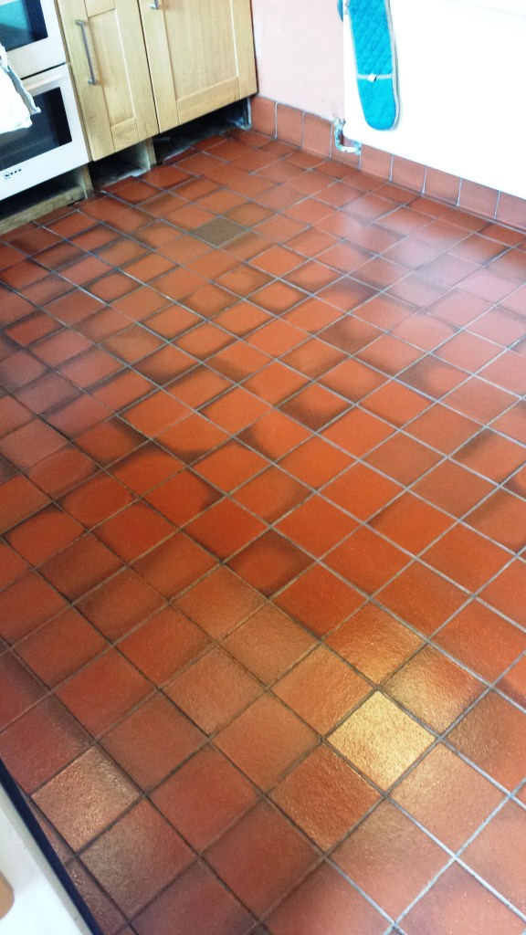 Grubby Quarry Tiled Kitchen Floor Cardiff After Cleaning and Sealing
