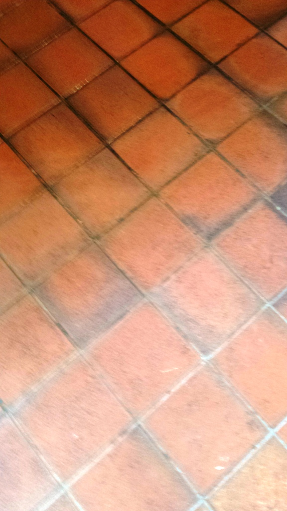 Grubby Quarry Tiled Kitchen Floor Cardiff Before Cleaning