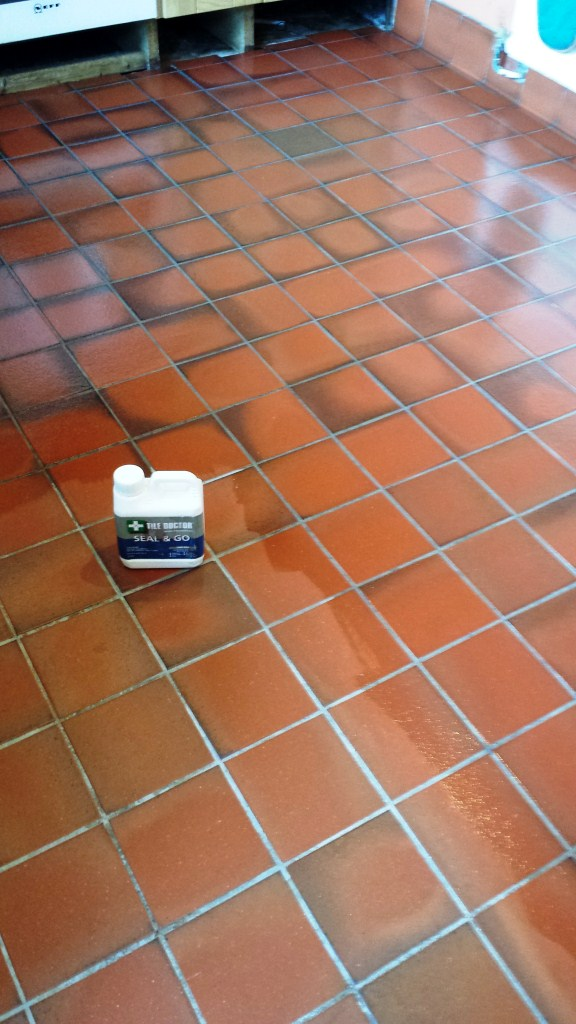 Grubby Quarry Tiled Kitchen Floor Cardiff During Sealing