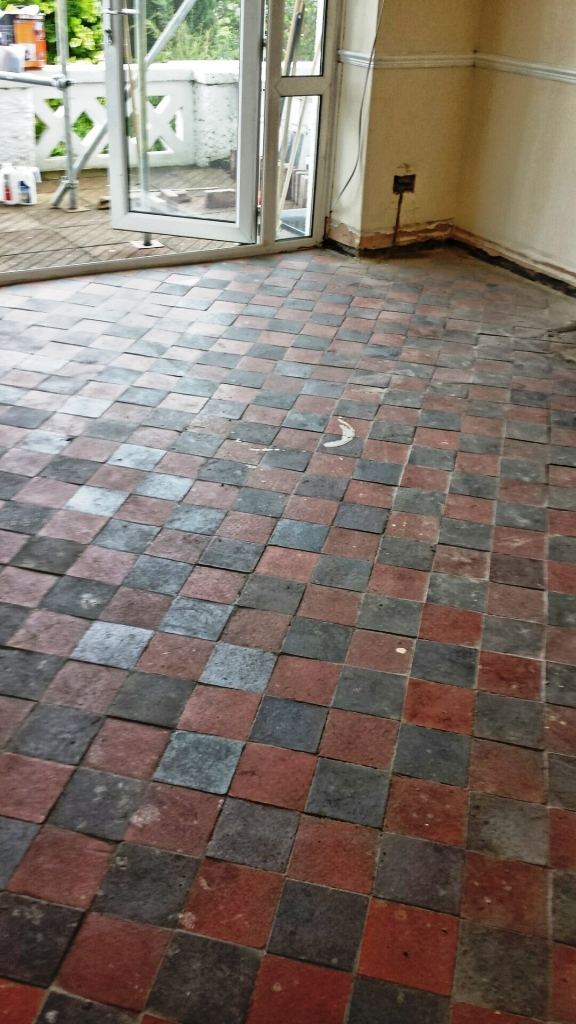 Red Quarry Tiles Floor in Treharris Before Cleaning
