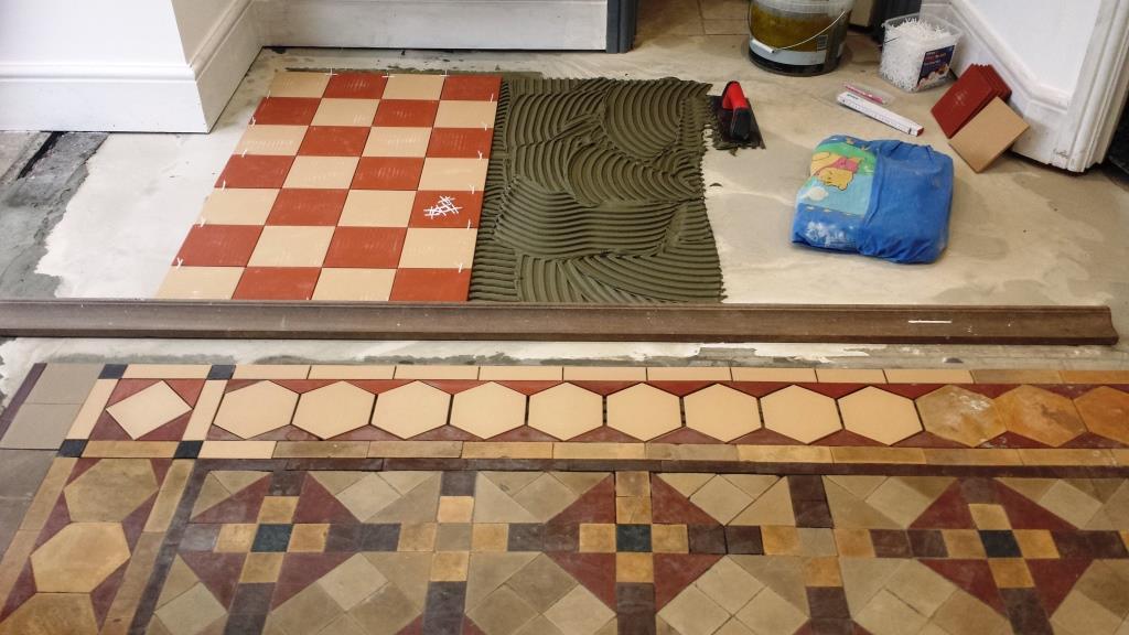 Full Victorian Floor Restoration Cardiff Laying new tiles
