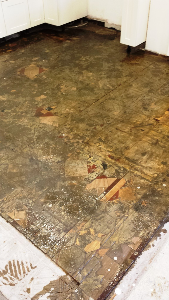 Full Victorian Floor Restoration Cardiff Scraping Off Adhesive