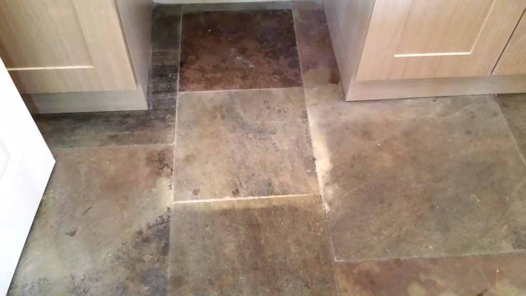Sandstone Floor Cardiff Before Cleaning