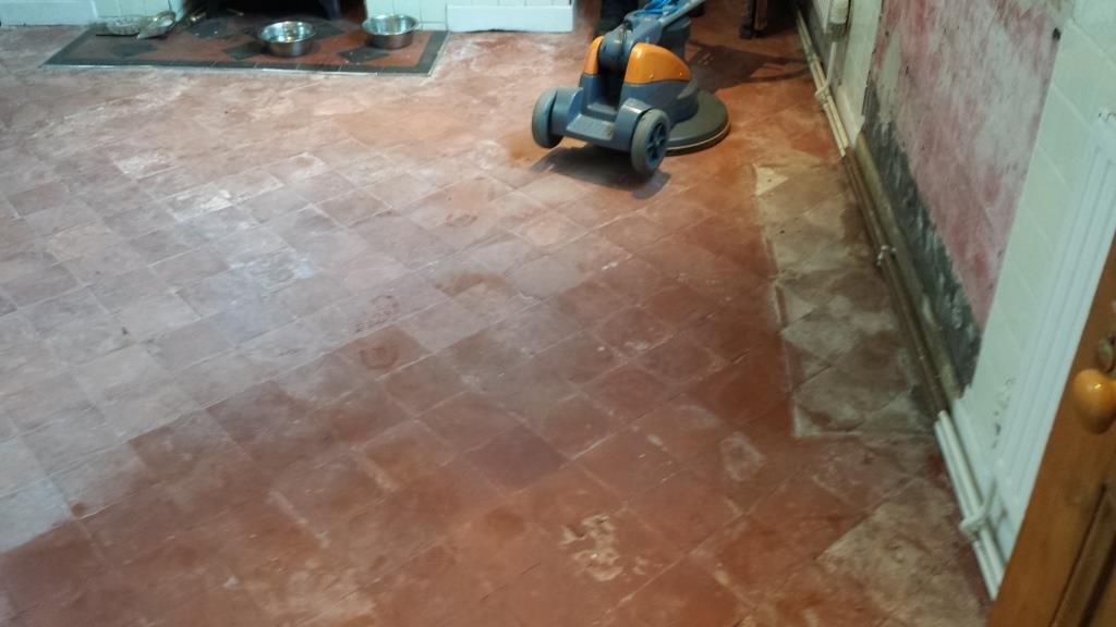 Quarry Tiled Floor Before Restoration near Caerphilly Castle