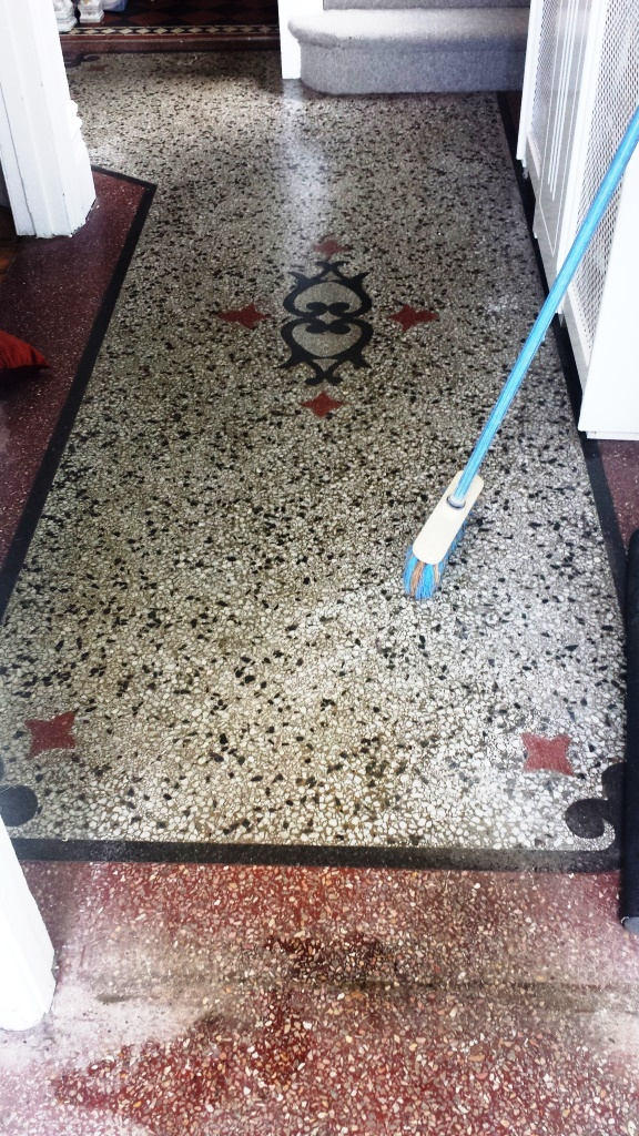 Terrazzo Hallway before deep cleaning near Caerphilly Castle