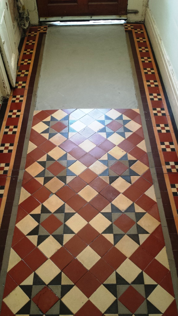 Victorian Tiled Floor Pontcana After Cleaning and Sealing