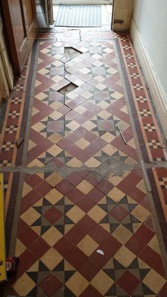 Victorian Tiled Floor Pontcana Before Repairs