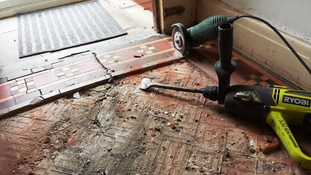 Victorian Tiled Floor Pontcana Removing Damaged Section