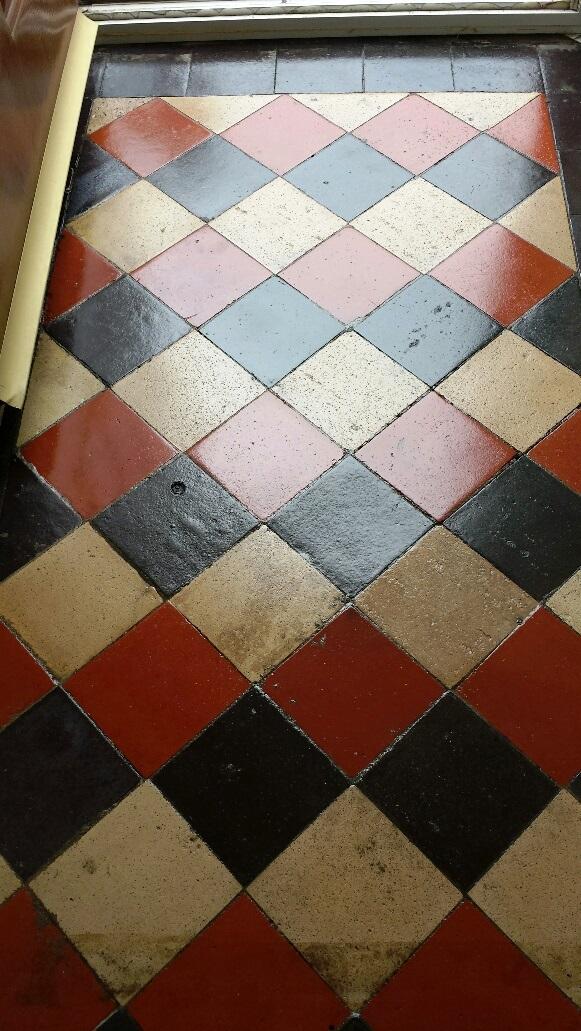 Quarry tile floor Merthyr Tydfil after sealing