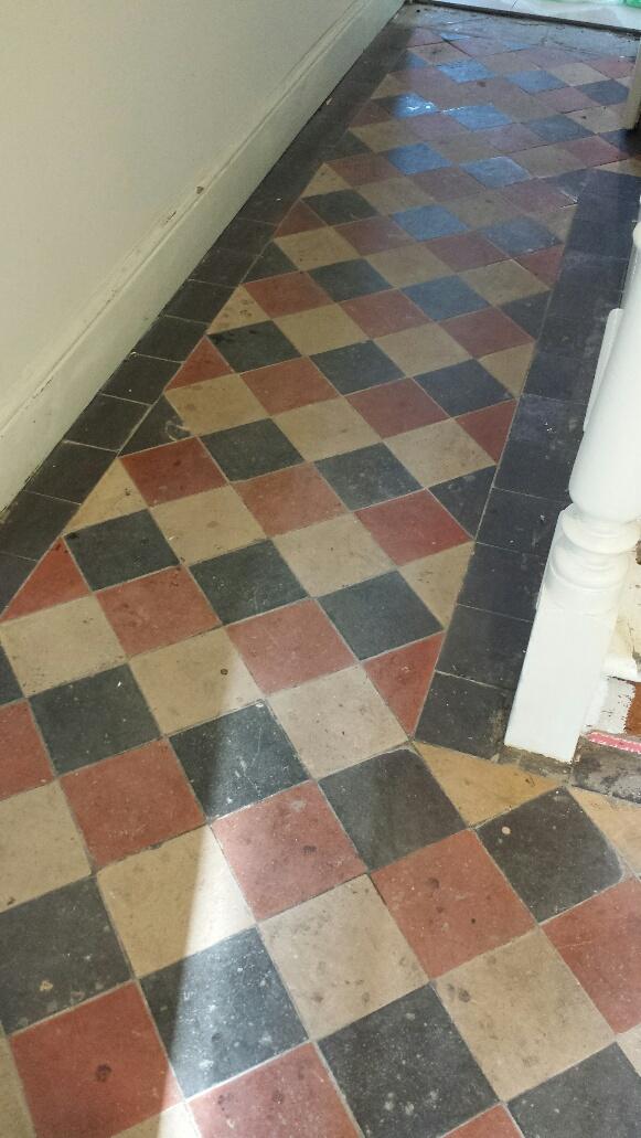 Quarry tile floor Merthyr Tydfil before cleaning