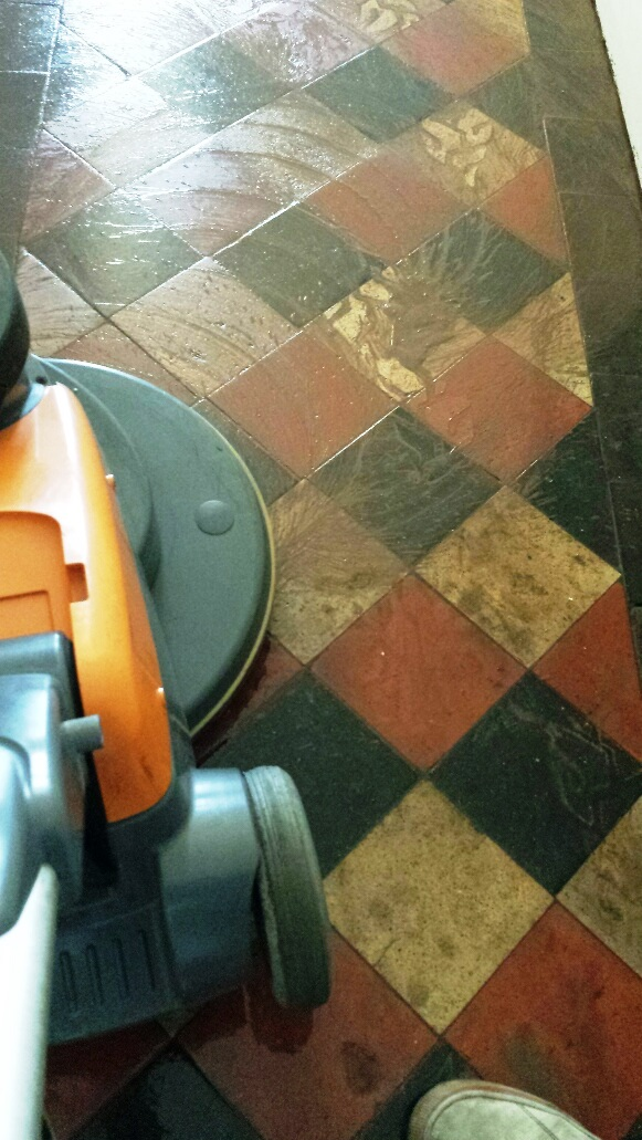 Quarry tile floor Merthyr Tydfil after cleaning
