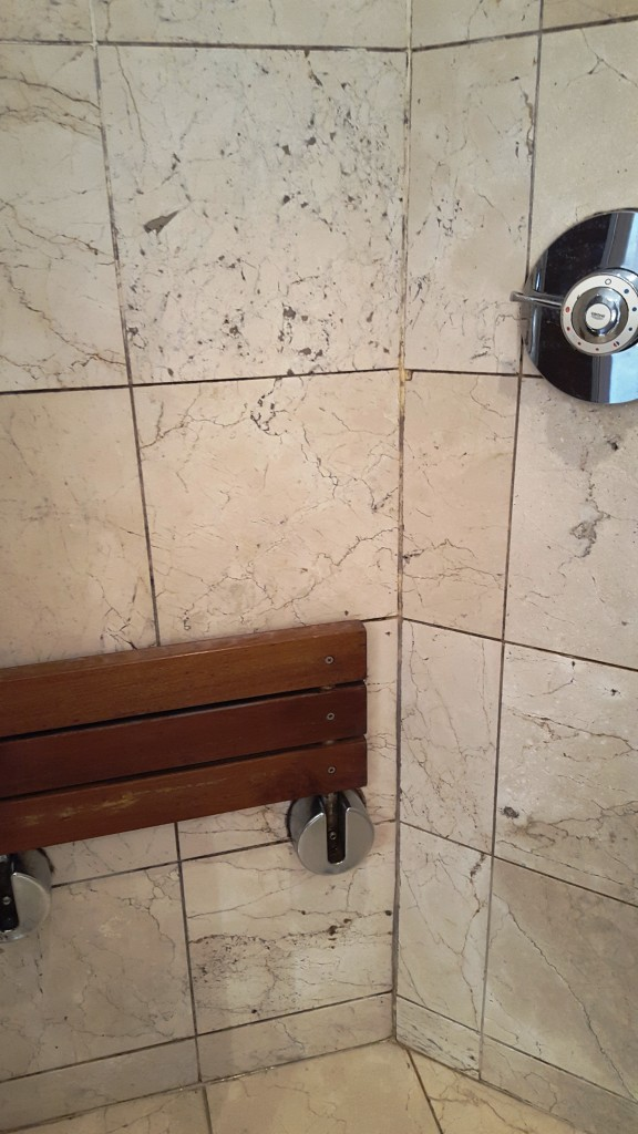 Marble Shower Enclosure Tiles Before Cleaning in Beddau