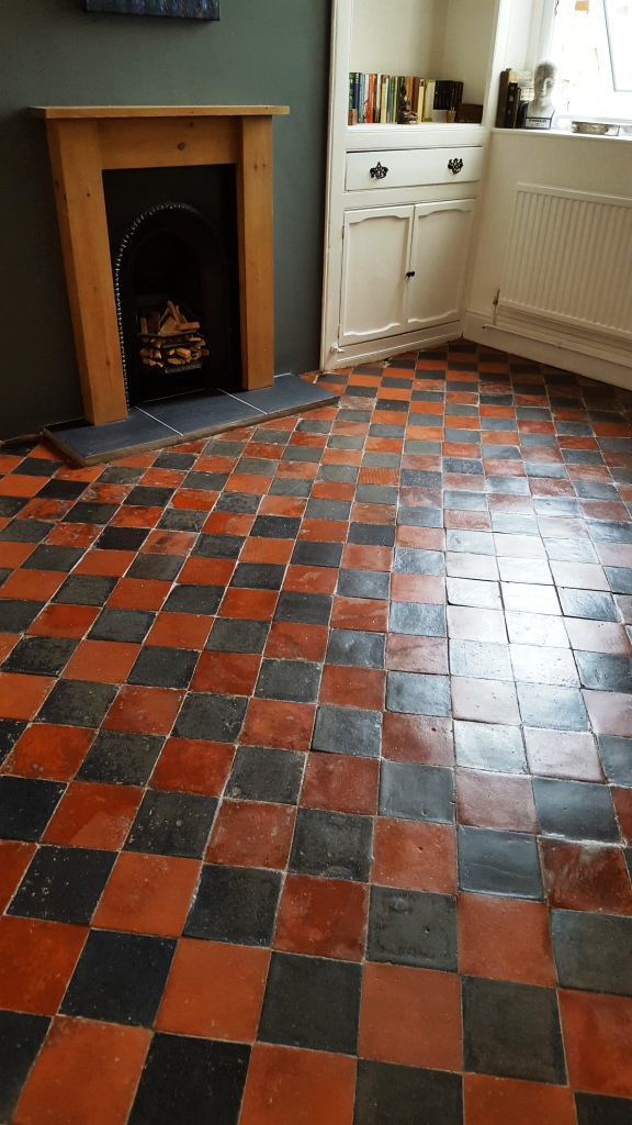 Quarry Tiled Sitting Room Floor after Restoration in Splott