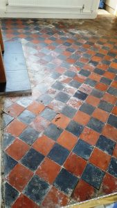 Quarry Tiles Before Restoration in Splott Cardiff