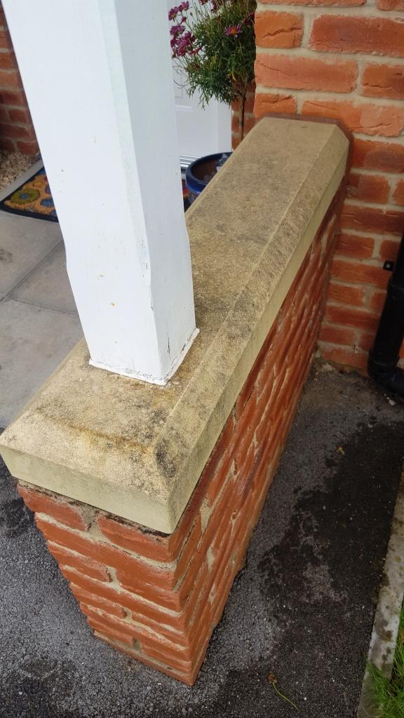 Bathstone pillar before cleaning Cardiff