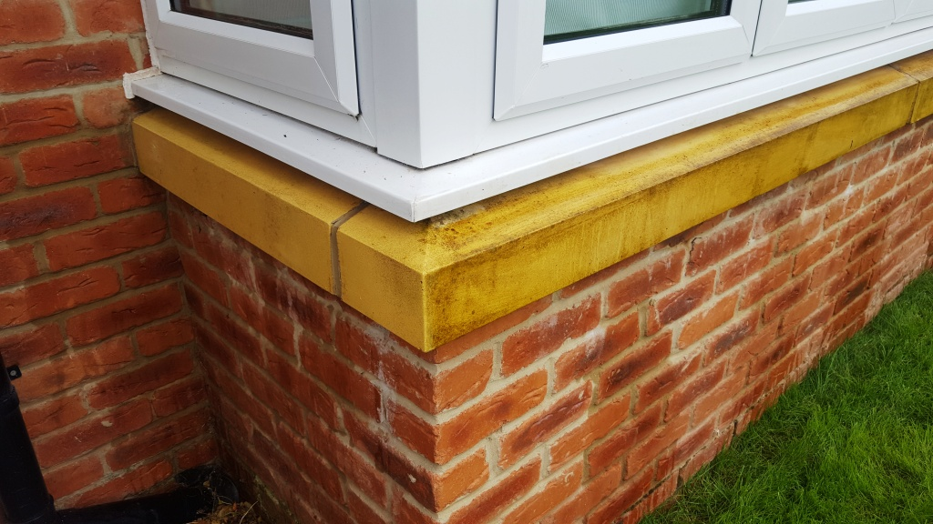 Bathstone window cill after test clean Cardiff