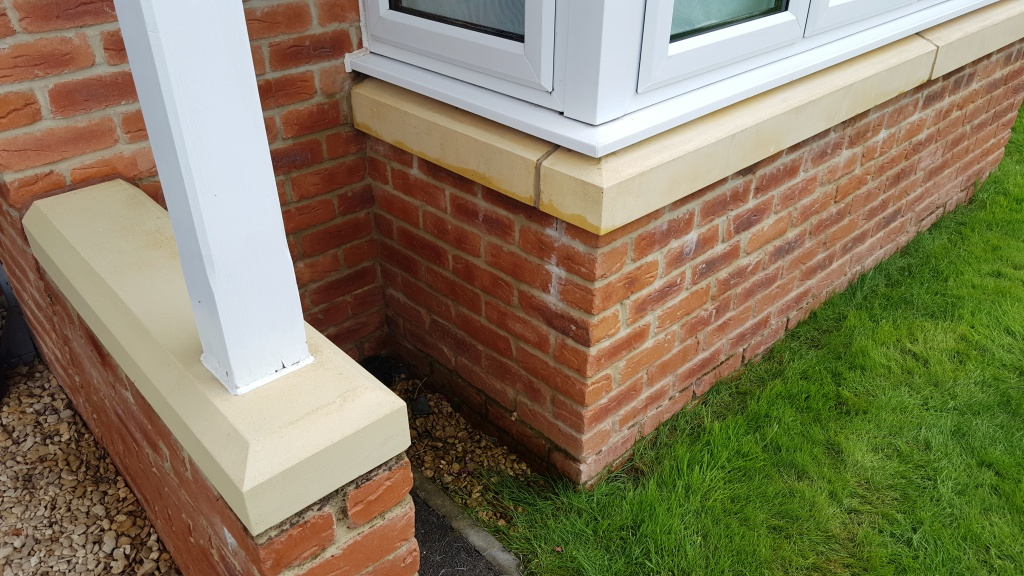 Bathstone window cills after cleaning Cardiff