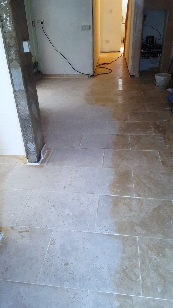 Uneven Travertine Floor During Levelling and Polishing in Swansea