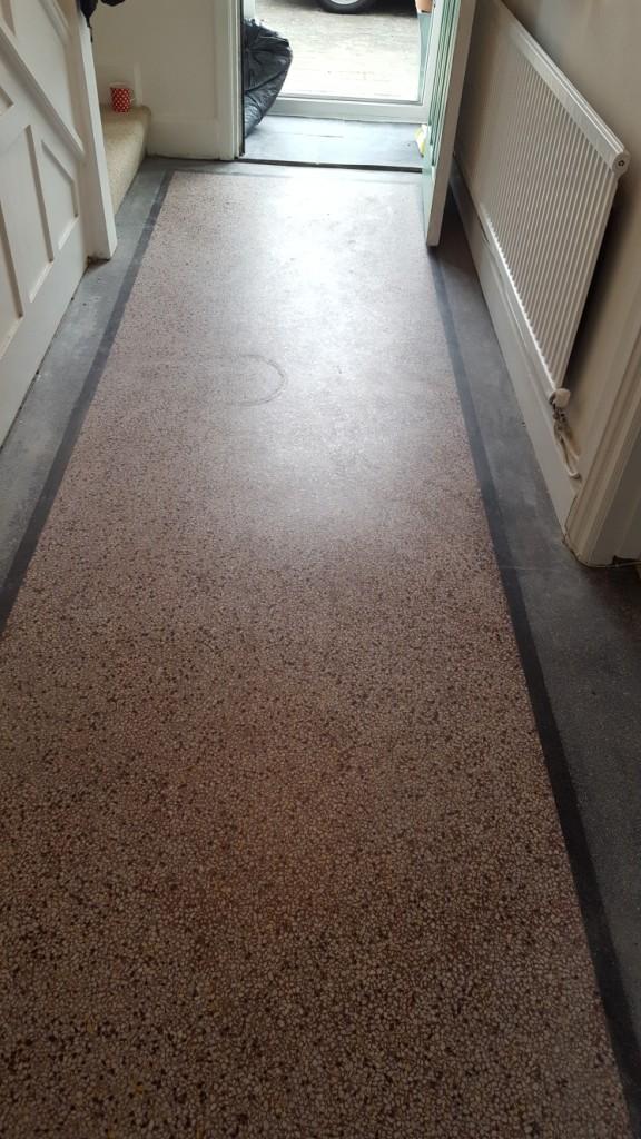 Old terrazzo hallway floor before polishing Bridgend
