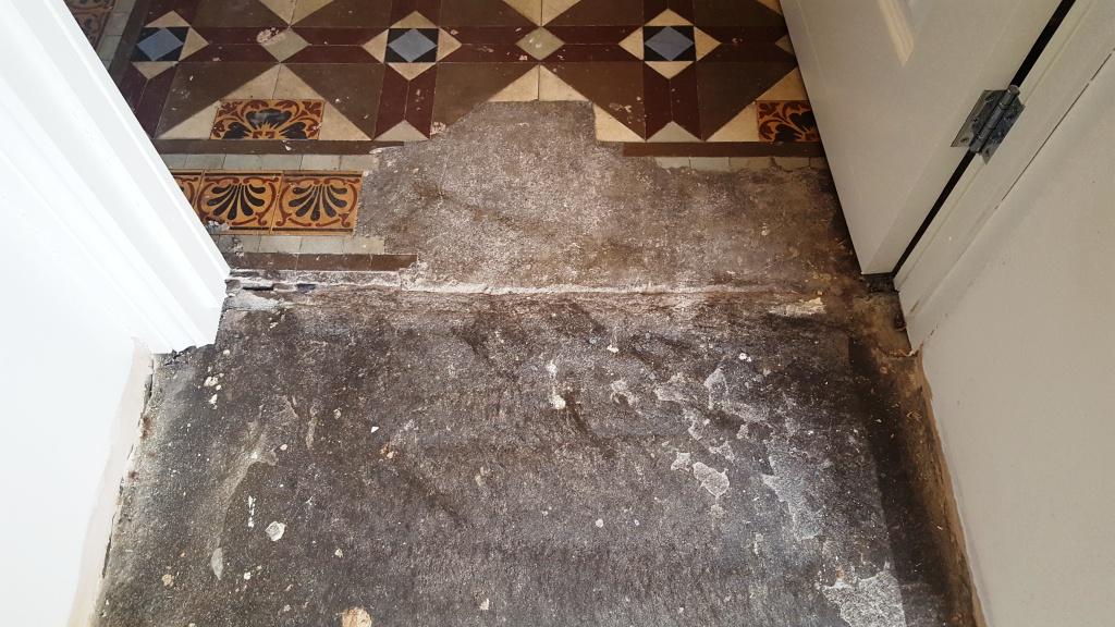 Victorian Hallway Floor Blackwood Before Repair