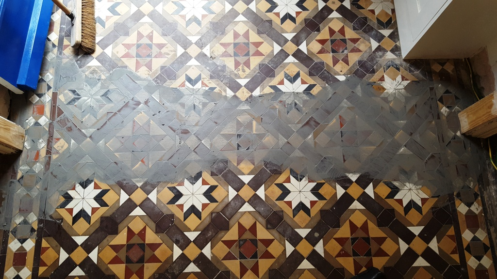 Victorian Hallway Tiles Grouting in Replacement Tiles in Newport