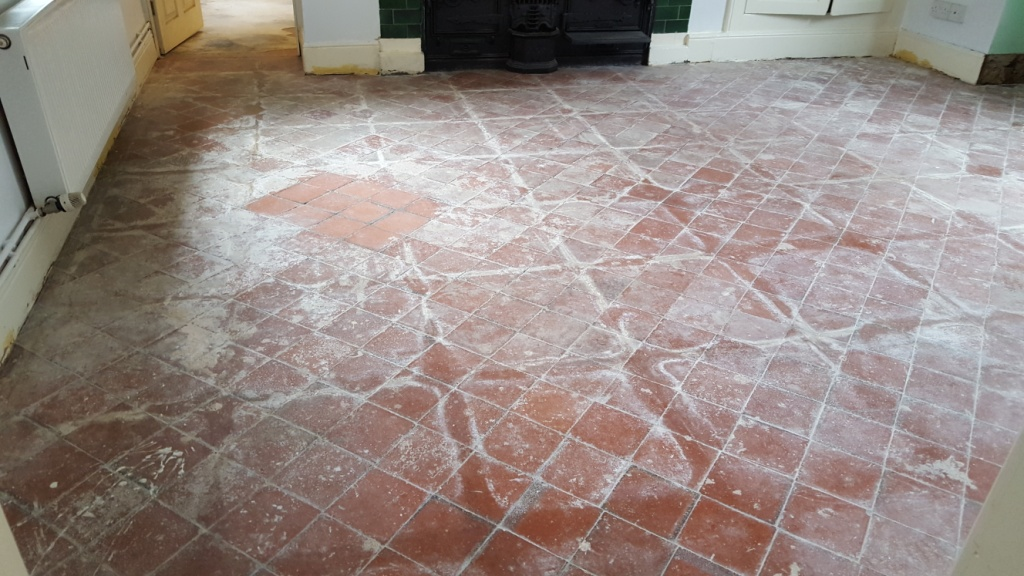 Quarry Tiles in Swansea Covered in Cement Compound Showing Test Clean
