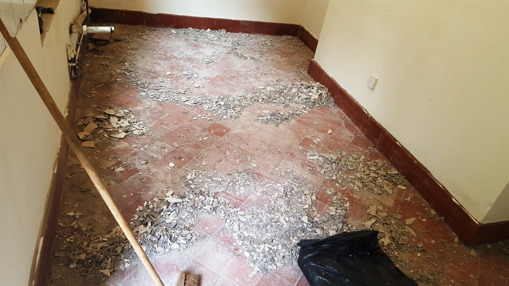 Quarry Tiles in Swansea Removing Cement Compound
