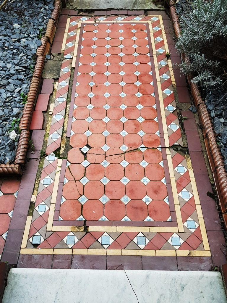 Victorian Tiled Pathway Before Rebuild Cardiff