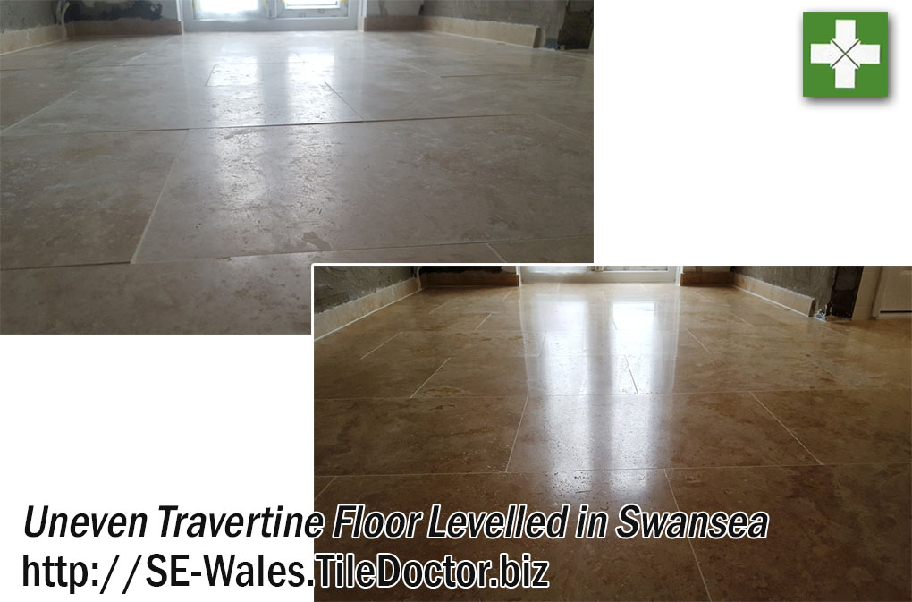 Uneven Travertine Floor Levelled and Polished in Swansea