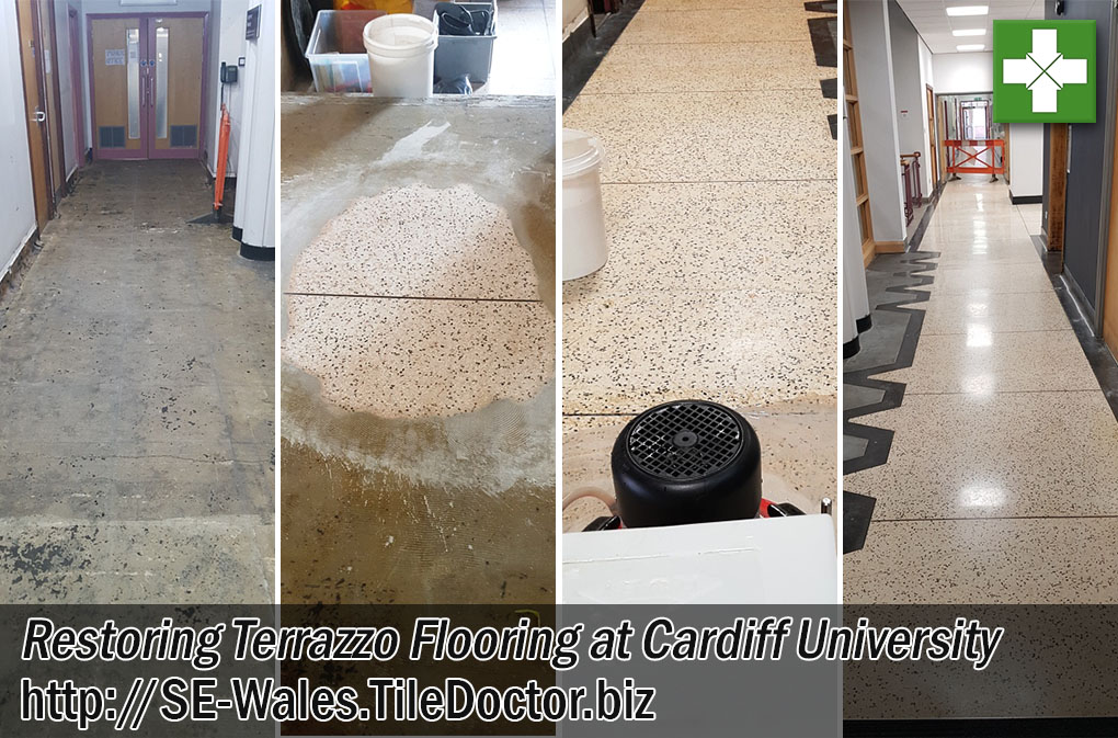 Terrazzo Tiled Floor Before and After Restoration Cardiff University