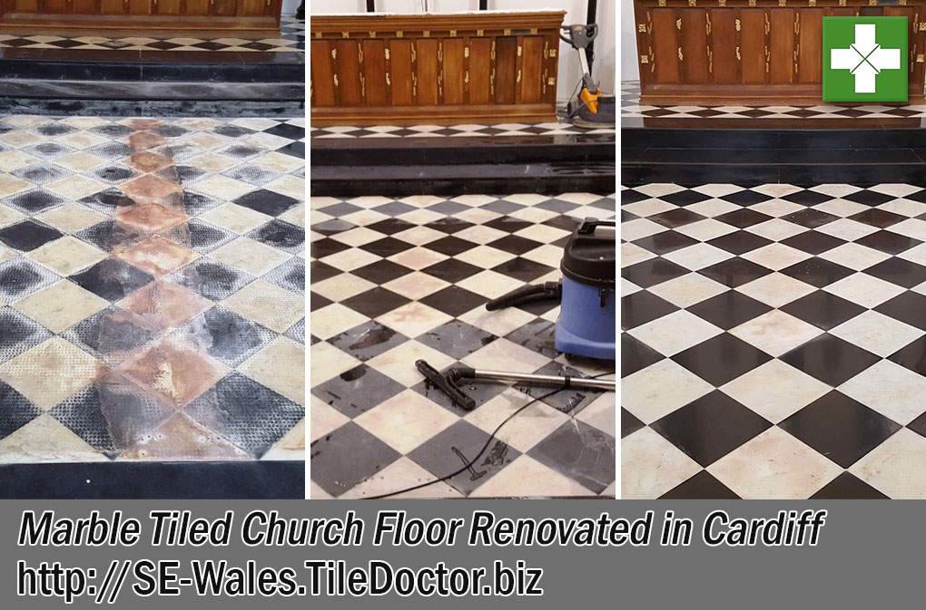 Marble Tiled Church Floor Before After Renovation Cardiff