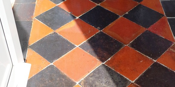 Quarry Tiled Hallway Floor Restored in Cardiff
