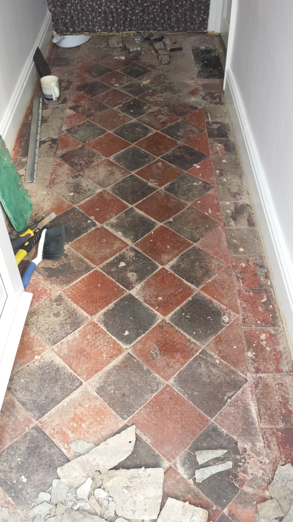 Quarry Tiles Before Restoration in Cardiff