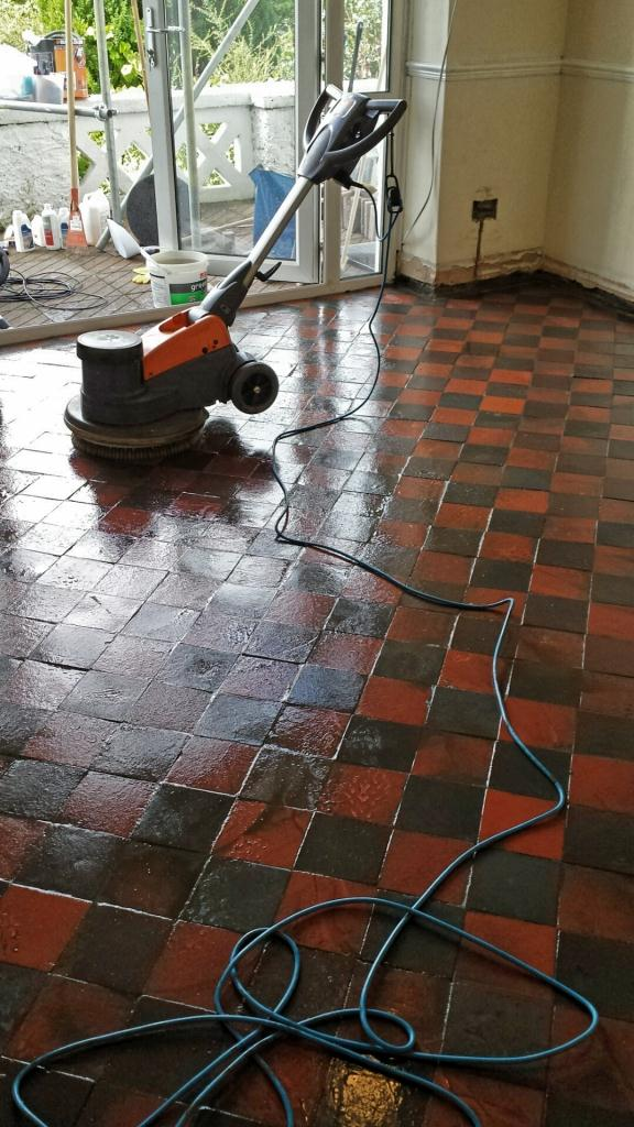 Red Quarry Tiles Floor in Treharris Scrubbed