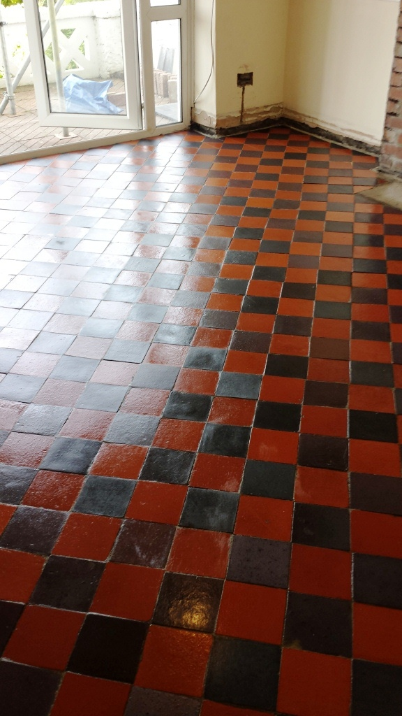 Red Quarry Tiles Floor in Treharris Sealed