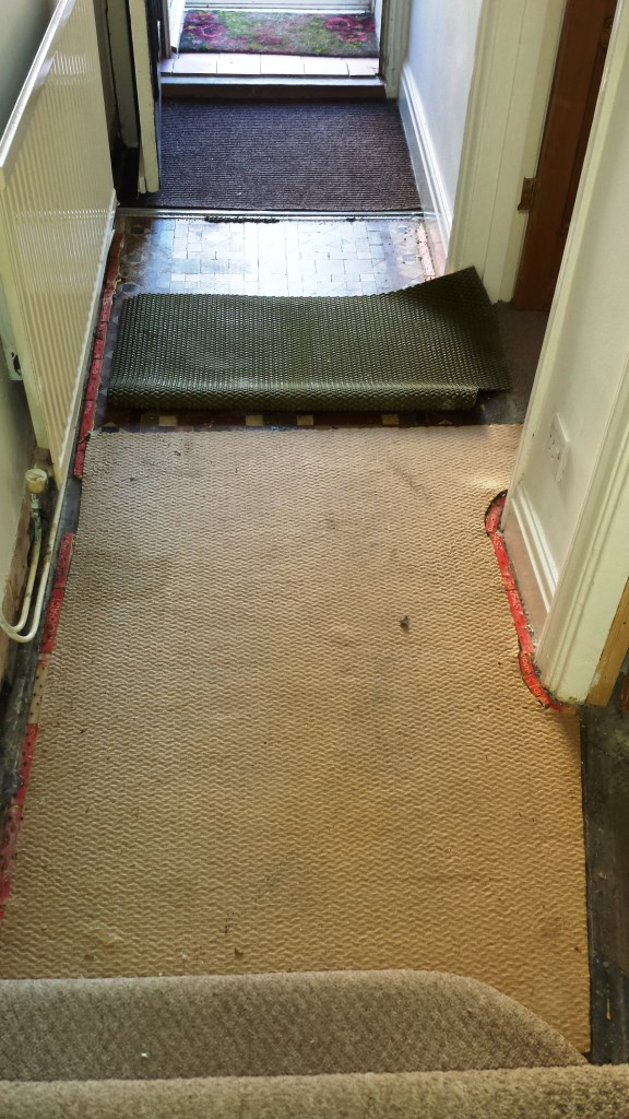 Victorian Tiled Floor Hidden Under Carpet in Splot