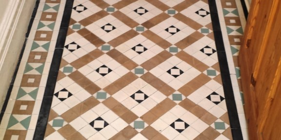 Damaged Victorian Tiled Hallway Refurbished in Port Talbot