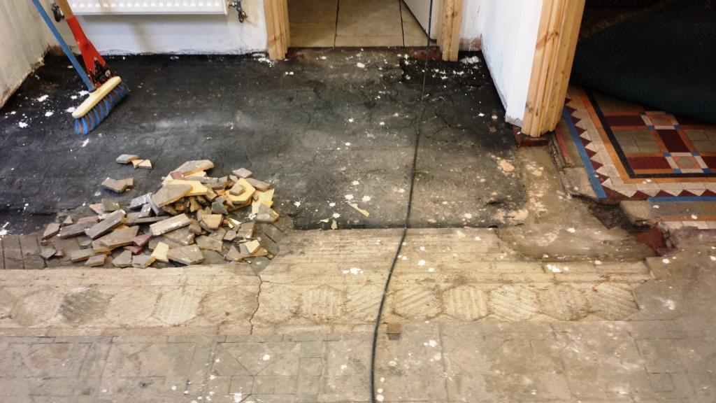 Full Victorian Floor Restoration Cardiff Exposing the tiles