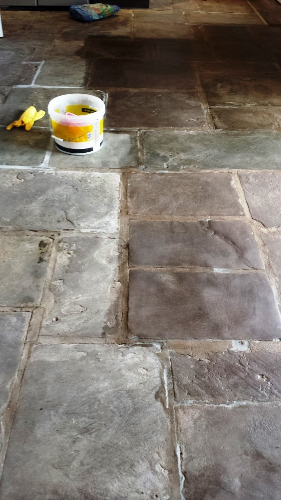 Old Flagstones During Sealing in Caerleon