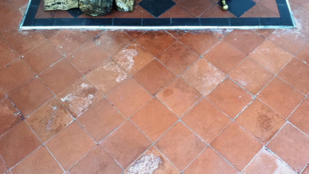 Quarry Tiled Floor During Restoration near Caerphilly Castle