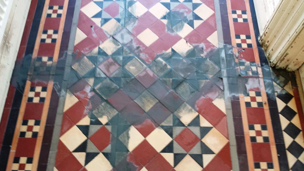Victorian Tiled Floor Pontcana During Grouting