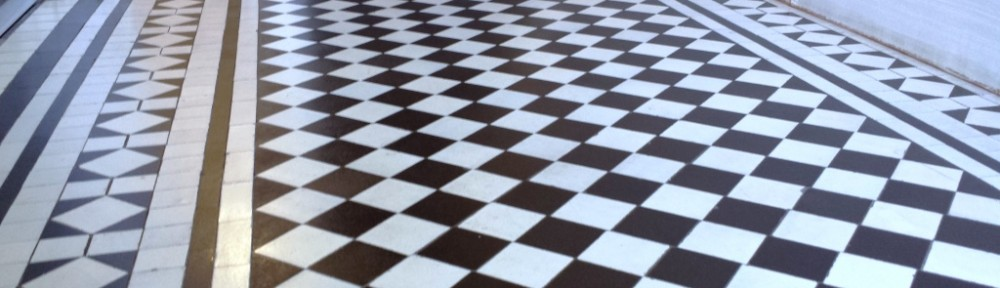 Black and white chequer Victorian Tiles Cardiff After