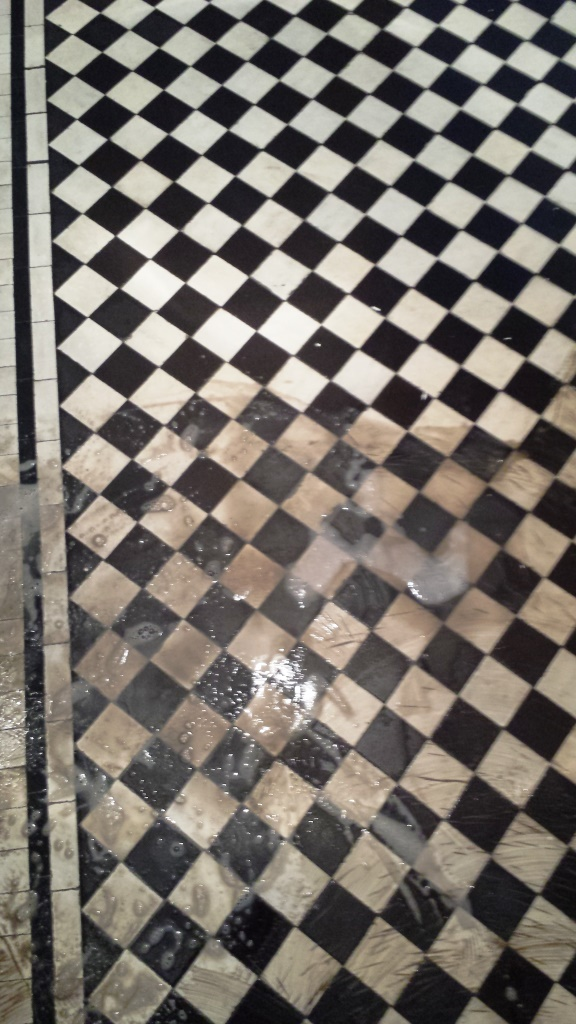 Black and white chequer Victorian Tiles Cardiff During Cleaning