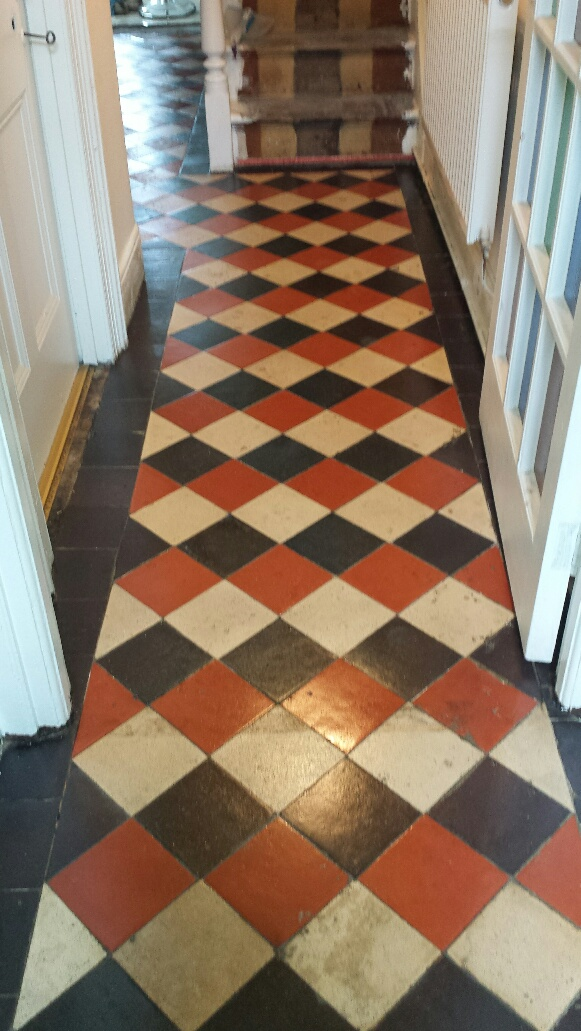 Quarry tile floor Merthyr Tydfil after cleaning