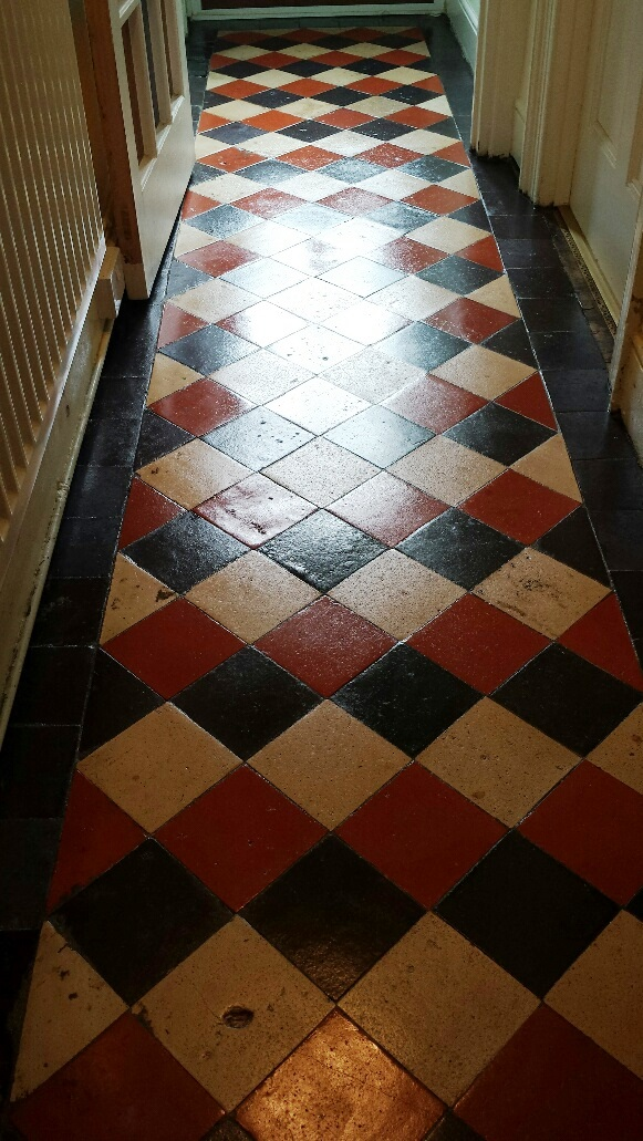 Quarry tile floor Merthyr Tydfil after sealing