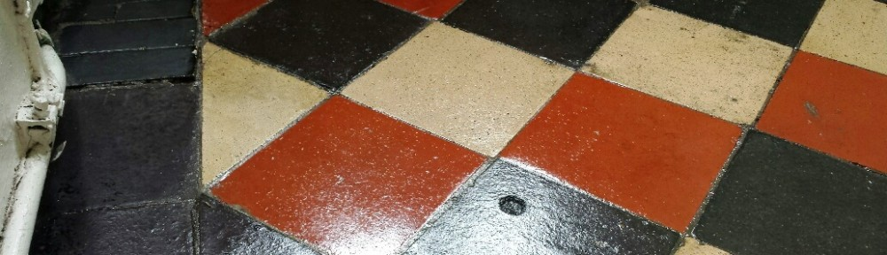 110 Year Old Quarry Tiled Floor Cleaned and Sealed in Merthyr Tydfil