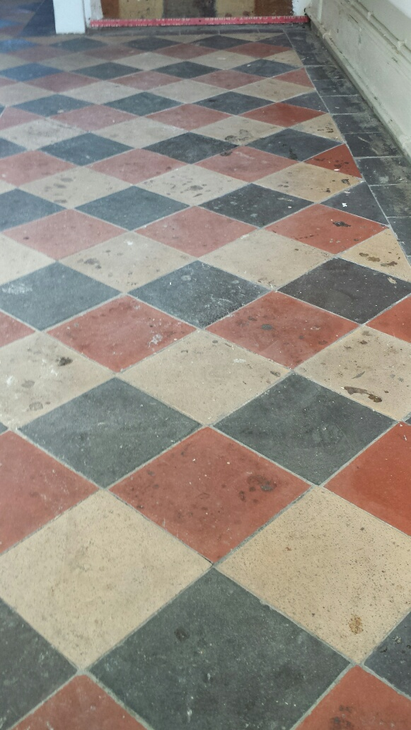 Quarry tile floor Merthyr Tydfil before cleaning