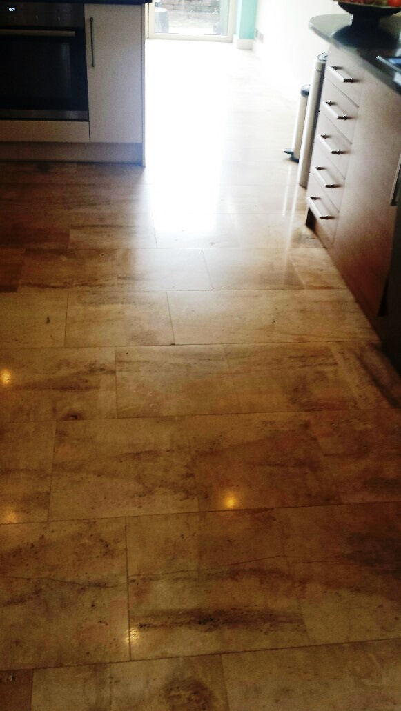 Unmaintained Limestone Kitchen Floor After Cleaning Cardiff