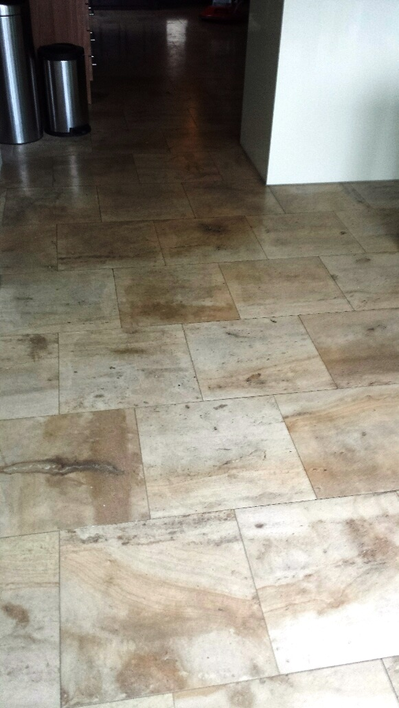 Unmaintained French Limestone Tiled Kitchen Floor Restored in ...