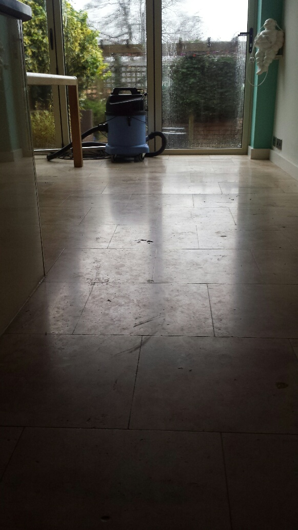 Unmaintained Limestone Kitchen Floor Before Cleaning Cardiff